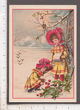 9873 Union Pacific Tea Co trade card twin girls picking winter holly Richmond IN