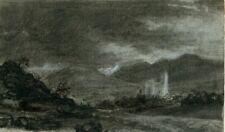 Paysage au crépuscule - Dessin original ancien