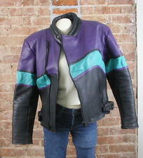 Distressed Genuine Leather Biker Jacket Sz 54 Daytona 2001 Bike Week Black Purpl