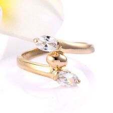 Promise Womens Jewelry 14K Yellow Gold Filled Oval Clear crystal Ring Size 7.5