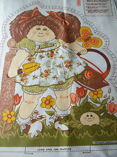 VINTAGE BRUNETTE CABBAGE PATCH DOLL FABRIC PILLOW PANEL 1 DOLL  FRONT AND BACK