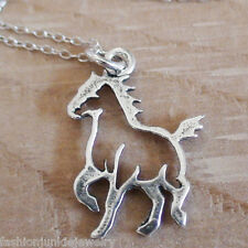 Horse Necklace - 925 Sterling Silver - Pony Charm Jewelry Galloping Horses NEW