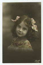 c 1914 Vintage Child Children CUTE LITTLE GIRL photo postcard