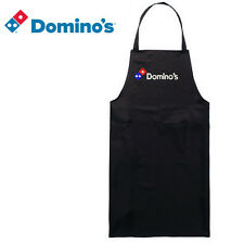 DOMINO'S PIZZA DELIVERY EMBROIDERED STITCHED BLACK BIB APRON ADJUSTABLE STYLE