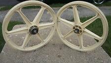 """Skyway 6-Spoke Mag Wheels OLD SCHOOL BMX  20"""" HARO GT O.E. Freestyle White VGUC"""