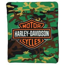 "Harley Davidson Camo Lightweight Fleece Throw Blanket 50"" x 60"" Brand New"