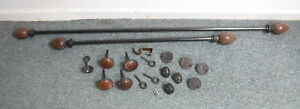 Pottery Barn Antique Bronze Curtain Rods w/ Tie Backs Library Finials & Hardware