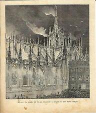 Stampa antica DUOMO di MILANO veduta notturna 1894 Old antique print
