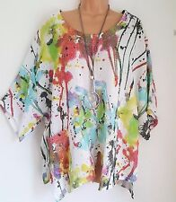 New Italian Lagenlook White Paint Splash Linen mix Tunic Top  uk 14 16 18 20