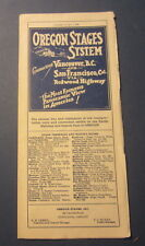 Old Vintage 1929 - OREGON STAGES SYSTEM Time Table Brochure Vancouver - S.F.