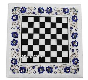 15 Inches Check Pattern Game Table Top Marble Coffee Table Inlay Art at Border
