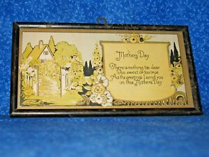Mothers Day Antique Hand Painted / Litho Country Cottage House Poem Framed  L8