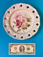 "⭐️4/ Vintage Reticulated 8-3/8"" Handpainted Roses Plates White Porcelain NM"