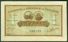 NECESSITE 1 FRANC CHAMBRE DE COMMERCE DE TOULOUSE 1920  ETAT: NEUF- lot 464