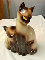 Vintage KRON Mid-Century Siamese Cat Kitten TV Lamp Night Light Glowing Eyes .