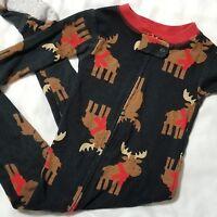 Carters Infant Christmas Pajamas 12M Black Red Reindeer Print 1 Pc Full Zip PJs