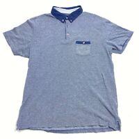 Steel & Jelly Blue Short Sleeve Cotton Pocket Golf Polo Shirt Mens - Large L