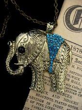 Steampunk Rhinestone Boho Hippy Chic Vintage Elephant Necklace Pendant Bronze