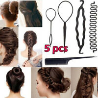 5Pcs Hair French Braid Topsy Tail Clip Styling Stick Bun Maker Tool Beauty DIY