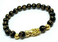 Feng Shui Black Obsidian Pixiu Bracelet Wealth Good Luck Dragon Glass Jewelry UK