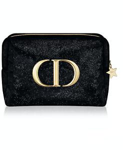 DIOR Beauty Logo black GOLD SHINY Cosmetic Makeup Bag clutch Pouch case TROUSSE