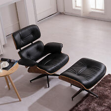 Eames Style Lounge Chair Ottoman Rosewood Genuine 100% Top Grain Italian Leather