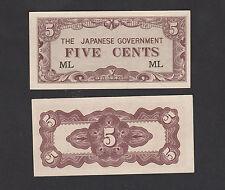 Malaya Japanese Occupation 5 Cents (1942) P-M1b #ML - UNC