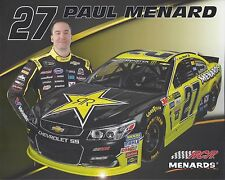 "2017 PAUL MENARD ""ROCKSTAR ENERGY RCR"" #27 MONSTER ENERGY NASCAR CUP POSTCARD"