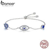 BAMOER S925 Sterling Silver Bracelet Chain The Guardian Eye With Blue AAA Zircon