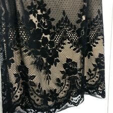 womens AGB Dress Petite Tan with black floral lace overlay skirt sz 10 petite