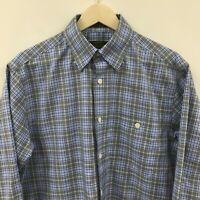 Mens Medium ORVIS Signature Collection Plaid Shirt Blue -SUPERB-  25c
