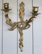 Vtg Brass Sconce 2 Arm Candlestick Holder Hollywood Regency Ornate Art Nouveau