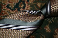 Ermenegildo Zegna Gray Gold White Geometric Woven Stripe Silk Tie Made in ITALY