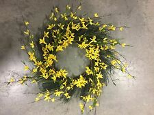 """Spring Floral Front Door Forsythia Flower Wreath 24"""" Hanging Wall Window NEW"""