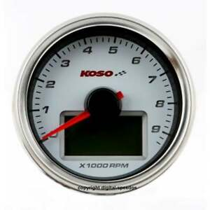 KOSO D55 White 9K Tachometer & temp, RPM, digital gauge, matching speedo listed