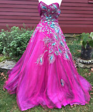 PINK ALEXA DESIGNS PINK BLUSH STRAPLESS PEACOCK GOWN SIZE 4 SEQUINS BEADS &TULLE