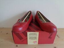 FITFLOP DUE RED LEATHER PLATFORM BALLERINA PUMPS SHOES FLATS UK 4.5. RRP £95