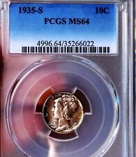 Mercury Dime 1935 S PCGS MS 64++++ WOW COIN Toned Stunner PQ FB? Rare Date