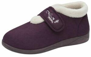 Ladies Touch Fasten Comfort Fit Memory Foam Orthopaedic House Slipper Women Shoe