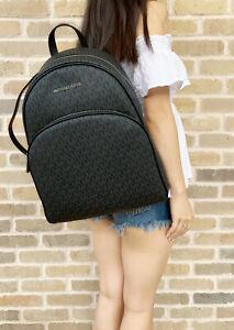 Michael Kors Abbey Large Backpack Black MK Signature PVC Leather