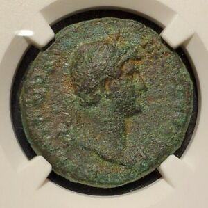 NGC AUTHENTICATED F  Hadrian (117-138 AD) AE As NICE COIN &  beautiful patina
