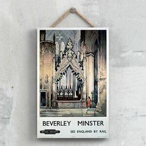 BEVERLEY MINSTER PERCY TOMB ORIGINAL NATIONAL RAILWAY POSTER ON A PLAQUE VINTAGE