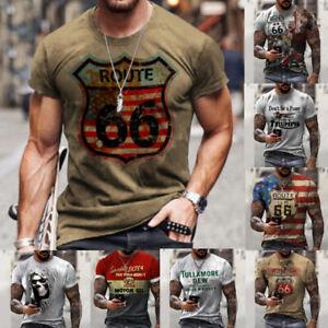 Herren Bedruckte T-Shirts Mit Rundhalsausschnitt Tops T-Shirt Kurzarm Casual Neu