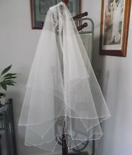 TWO TIER HANDKERCHIEF VEIL, 90cm,CRYSTAL FLUTED, WHITE or  IVORY COLORS,NEW,AUST