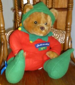 "HALLMARK Plush BEAR Santa's Workshop ELF #25 Seated 13"" CHRISTMAS TEDDY"