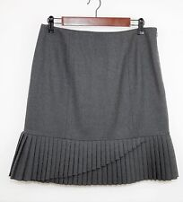 ETCETERA Size 8 - DARK GRAY STRAIGHT PLEATED WOOL SKIRT - Knee Length & Lined