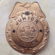 VINTAGE JUNIOR G MEN TOY BADGE WITH EAGLE ON TOP MADE IN JAPAN PIN ATTACHED RARE