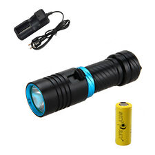 5000Lm Rechargeable Scuba Diving Xm-L2 Led Flashlight Torch Lamp+1x26650+Charger