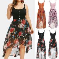 Summer Women Plus Size Sleeveless Buttons Floral Print Overlay High Low Dress