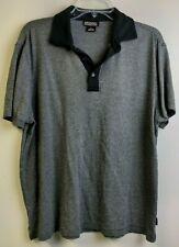 New listing Michael Kors Mens L Polo Shirt Gray Black Striped Short Sleeve 1/4 Button